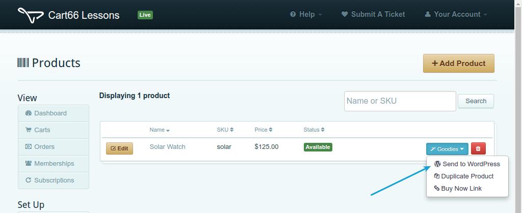Send product tor WordPress