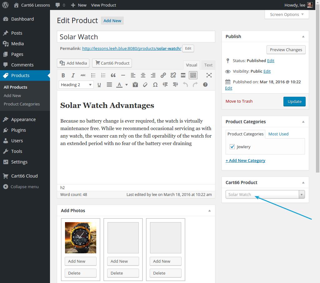 WordPress product page
