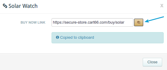 Copy Buy Now Link from Cart66 Cloud dashboard