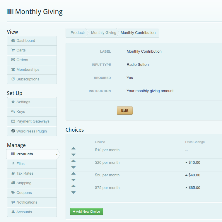 Monthly donation variations in Cart66 dashboard