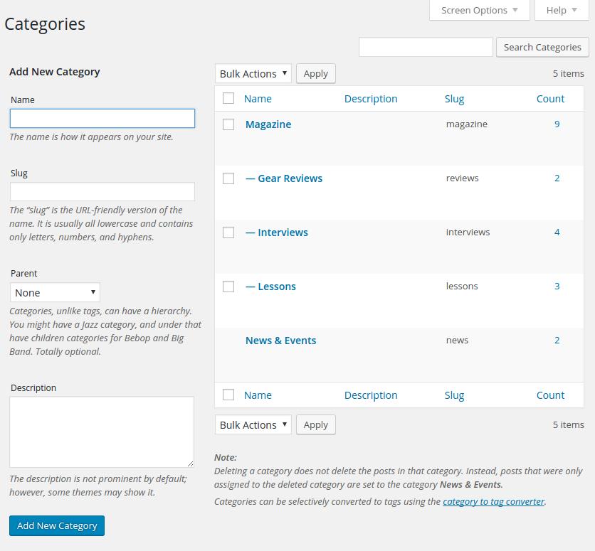 WordPress magazine plugin content categories