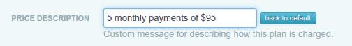 Custom price description for payment plans