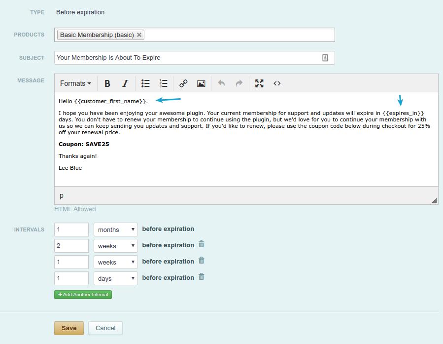 Membership renewal notification email settings