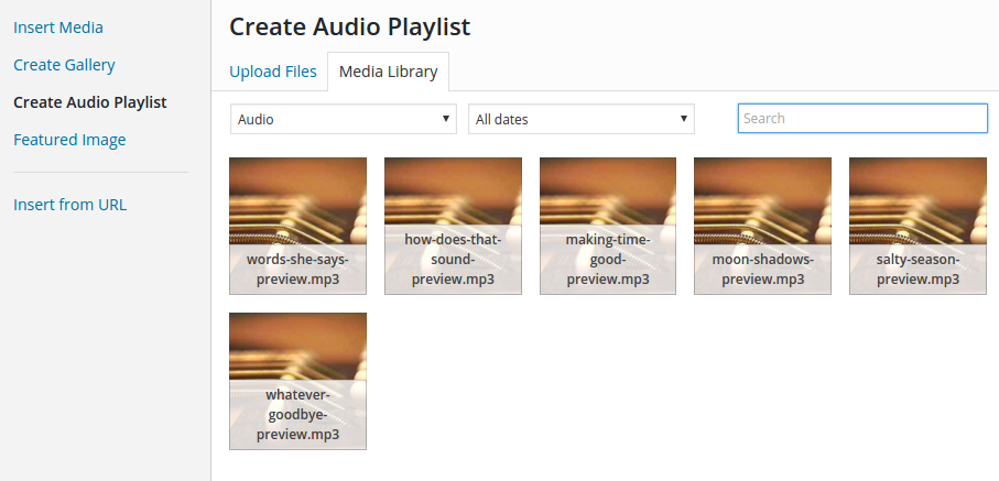 create audio playlist