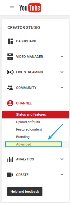 Creator studio advanced channel settings