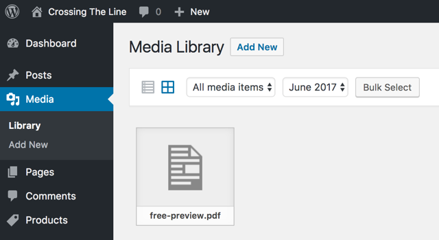 Upload free media preview to WordPress Medial Library