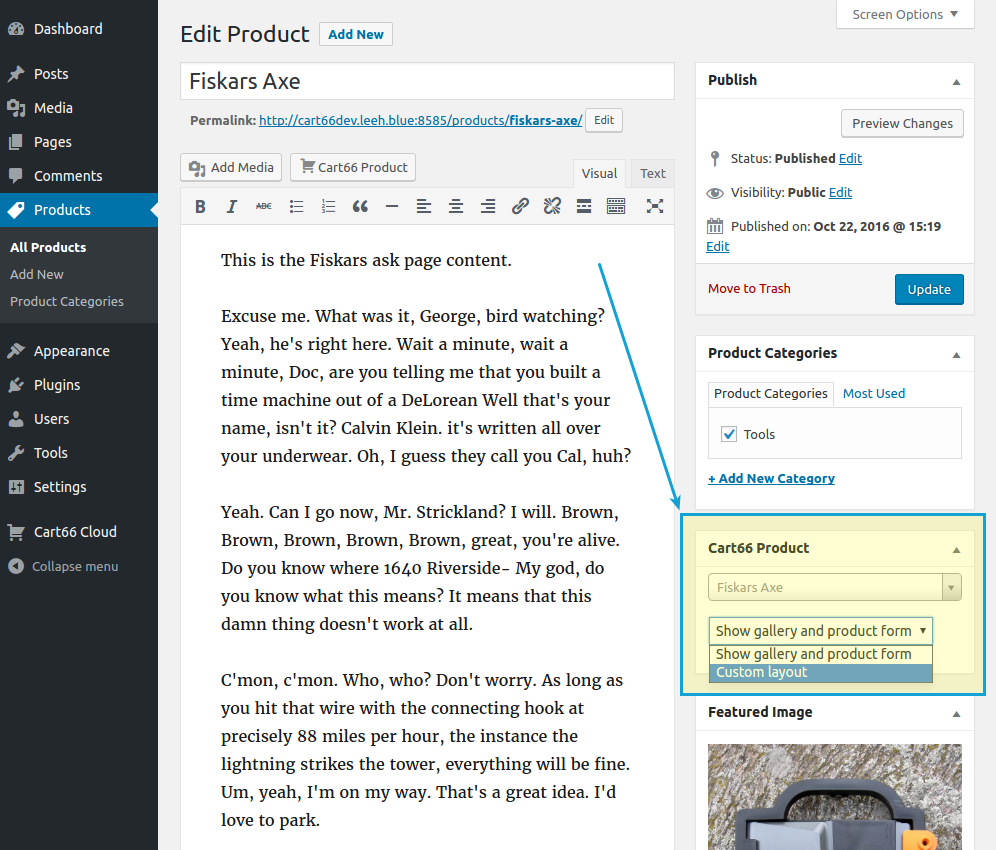 Cart66 product post type editor