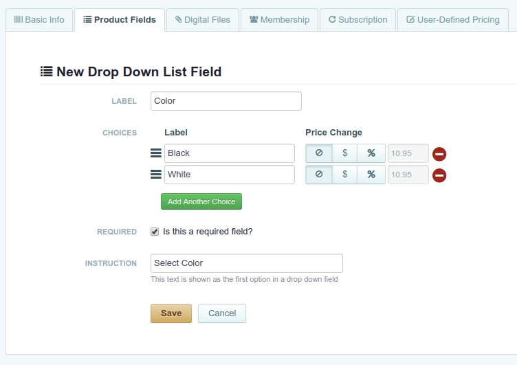Adding new drop down list to product