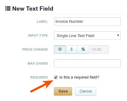 Configure the filed to collect the invoice number