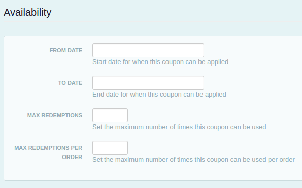 coupon availability restrictions for event registrations