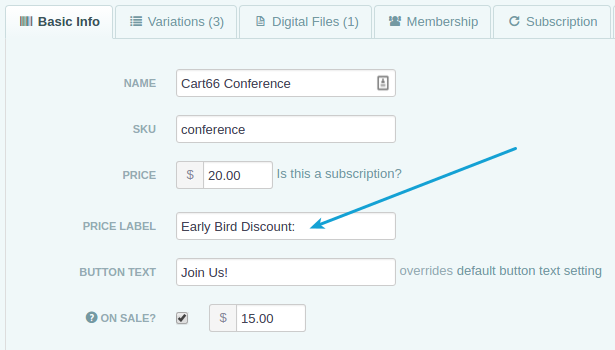 Customize price label to say Early Bird Discount