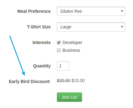 early bird discount on price label for event
