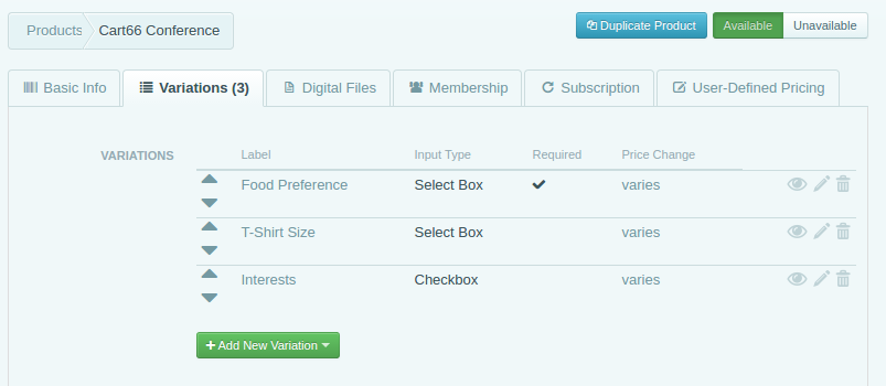 event registration form options