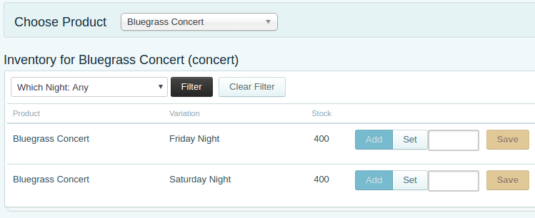 Tracking inventory for multiple events in one form