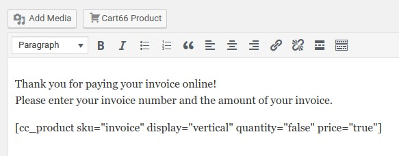 Adding the invoice payment shortcode to the WordPress page editor