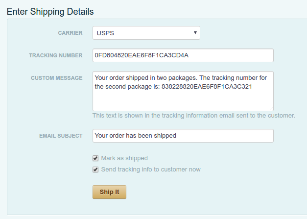 Shipping an order with multiple packages