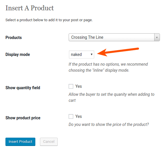 Cart66 product display mode option for naked forms