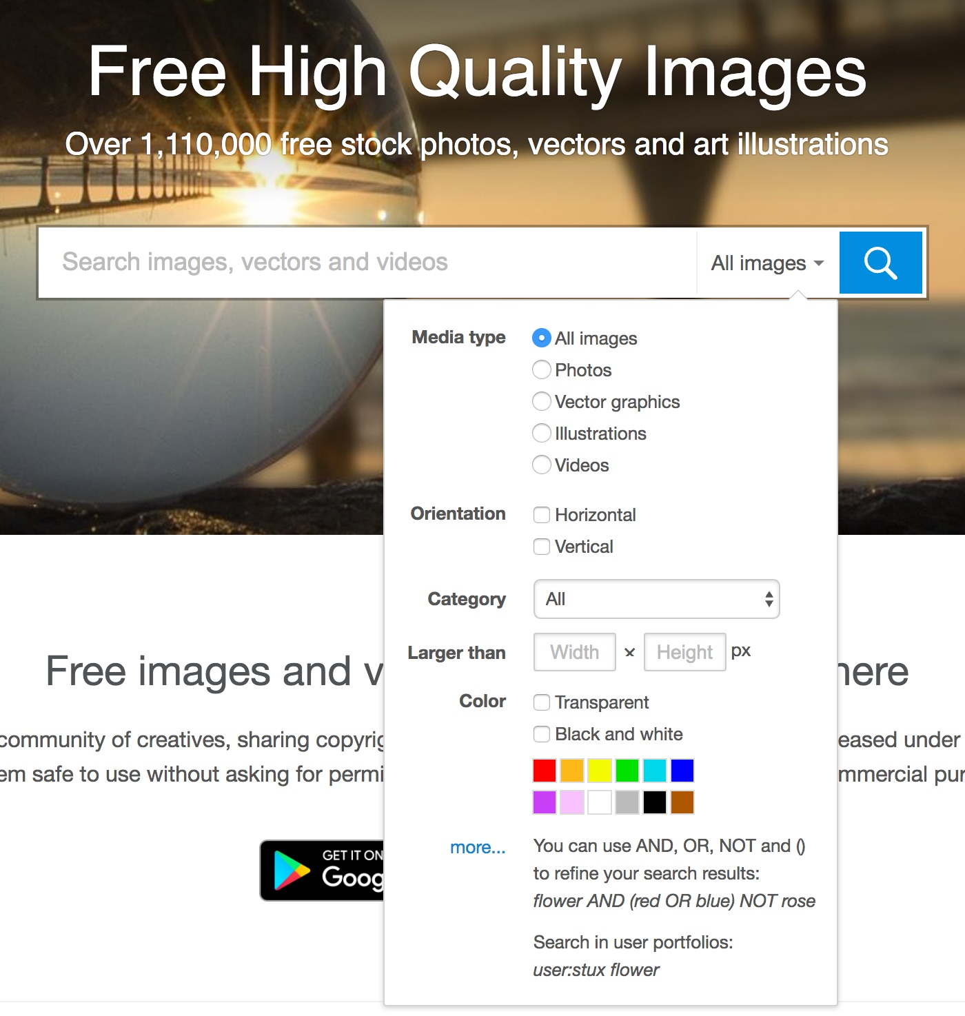 Advanced search tools for free images with no copyright