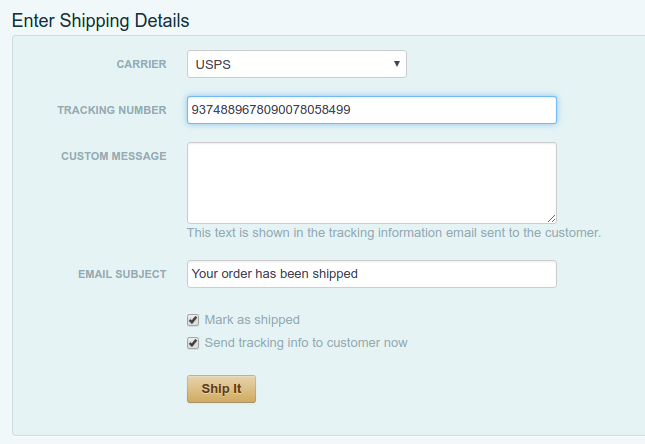 Tracking information sent to Cart66 customer