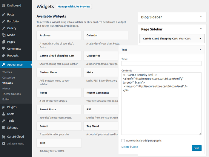 Cart66 security seal in sidebar in WordPress sidebar editor